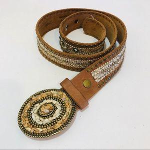 LEATHEROCK leather belt studded brown stones Sz S